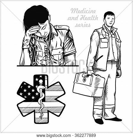 Tired Nurse With Stethoscope. Paramedic. Medical Symbol Of The Emergency. Vector Illustration Isolat