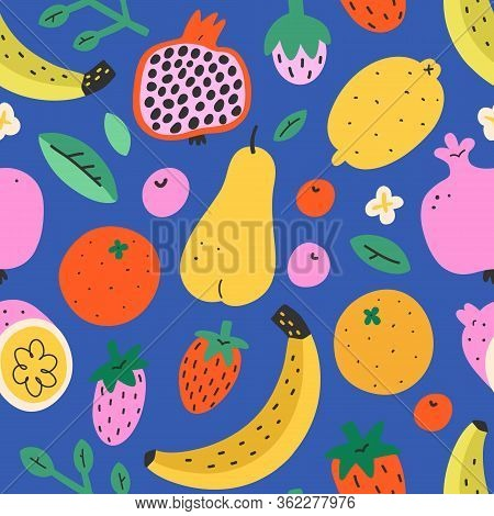 Fruit Mix Pattern, Summer Sweet Food Background, Seamless Vector Texture, Pomegranate, Lemon And Tro