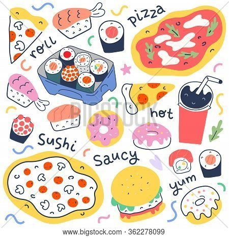 Fast Food Collection, Menu Food Illustrations For Delivery Service, Italian Pepperoni Pizza, Japanes