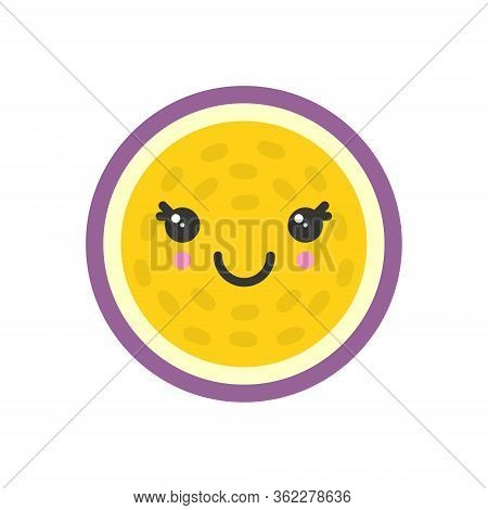 Cute Smiling Exotic Passion Fruit, Isolated Colorful Vector Fruit Icon