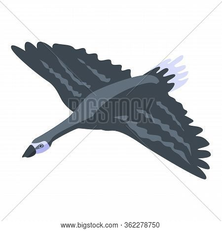 Flying Black Goose Icon. Isometric Of Flying Black Goose Vector Icon For Web Design Isolated On Whit