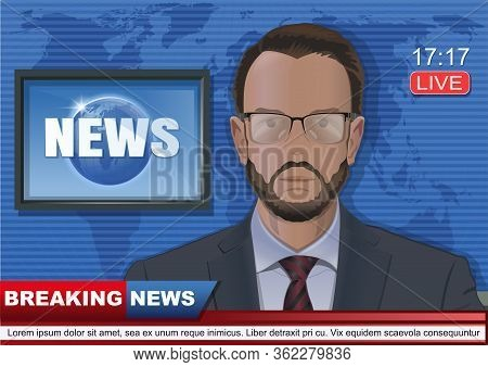 Breaking News Concept Design With Bearded Tv Presenter. News Anchor In The Studio Of The Tv Channel.