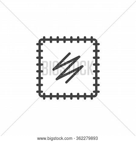 Embroidery Fabric Line Icon. Textile Fabric Linear Style Sign For Mobile Concept And Web Design. Han