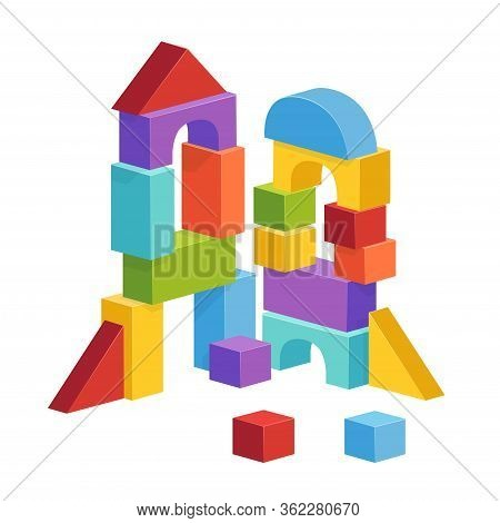 Pyramid Built From Childrens Cubes. Toy Castle For Childrens Play