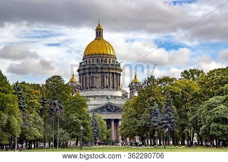 Russia, Saint Petersburg, April, 2016 - Saint Isaac`s Cathedral The Largest Orthodox Church In St. P