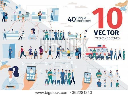 Patients Hospitalization, Mobile Services For Healthcare Trendy Flat Vector Scenes, Concepts Set. Mo
