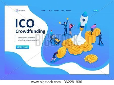 Isometric Ico Crowdfunding In The Cryptocurrency Business Have Money To Invest In Project. Landing P