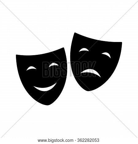 Theatrical Masks Icon- Vector Illustration Character Theater - Tragedy And Comedy