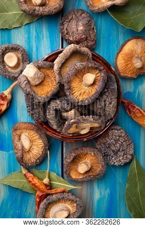 Dehydrated shiitake mushrooms, asian food ingredient