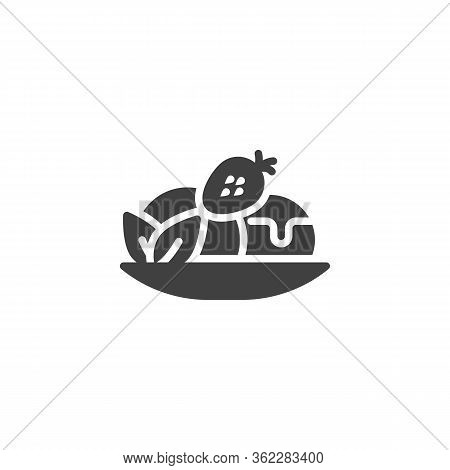 Fruit Sundae Ice Cream Vector Icon. Filled Flat Sign For Mobile Concept And Web Design.strawberry So