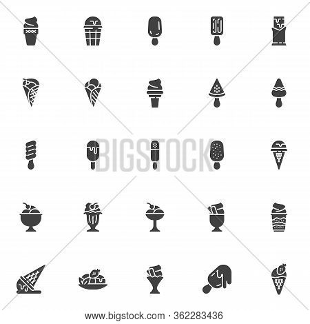 Ice Cream Vector Icons Set, Modern Solid Symbol Collection, Filled Style Pictogram Pack. Signs Logo