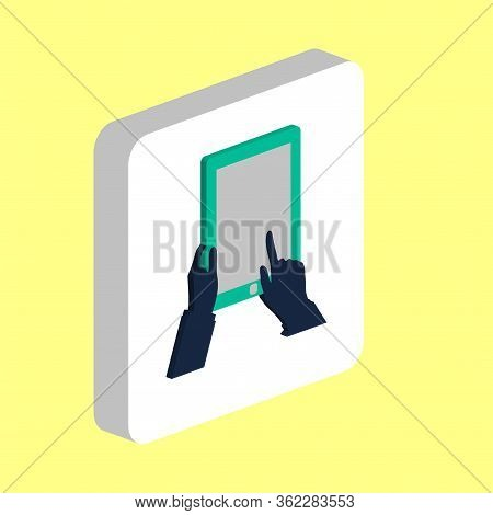 Hand Tap Tablet Simple Vector Icon. Illustration Symbol Design Template For Web Mobile Ui Element. P