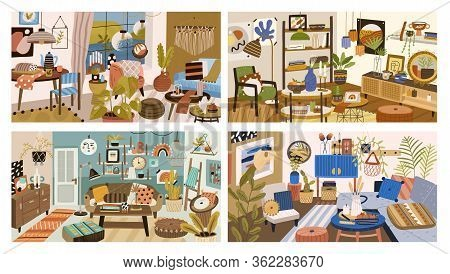 Set Of Various Modern Interior Design Of Living Room Vector Graphic Illustration. Collection Of Colo