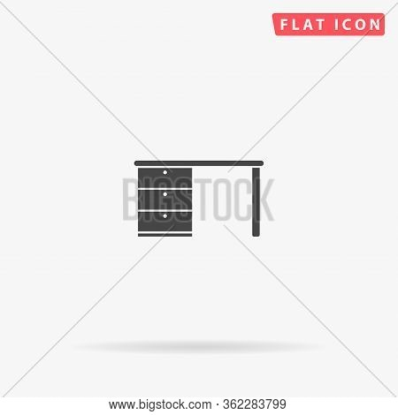 Desk Flat Vector Icon. Glyph Style Sign. Simple Hand Drawn Illustrations Symbol For Concept Infograp