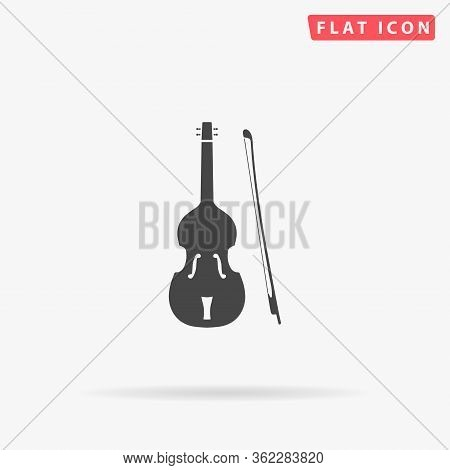 Fiddle Flat Vector Icon. Glyph Style Sign. Simple Hand Drawn Illustrations Symbol For Concept Infogr