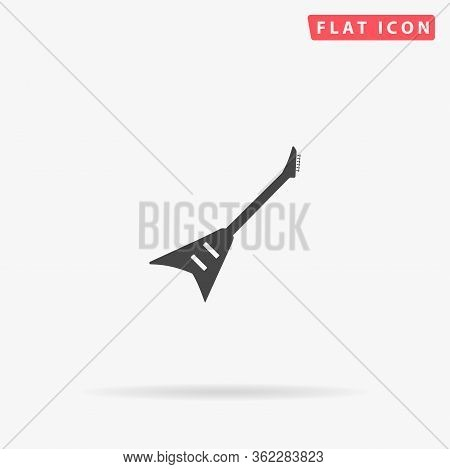Electric Guitar Flat Vector Icon. Glyph Style Sign. Simple Hand Drawn Illustrations Symbol For Conce