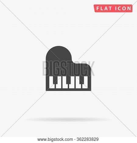 Piano Flat Vector Icon. Glyph Style Sign. Simple Hand Drawn Illustrations Symbol For Concept Infogra