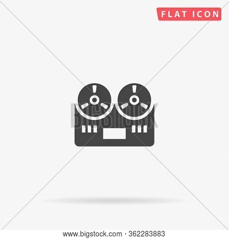 Tape Recorder Flat Vector Icon. Glyph Style Sign. Simple Hand Drawn Illustrations Symbol For Concept