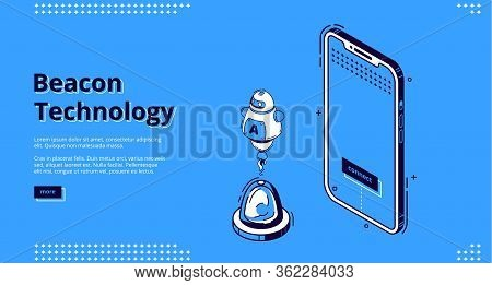 Beacon Technology Isometric Landing Page. Robot Near Smartphone, Internet Of Things, Communication N