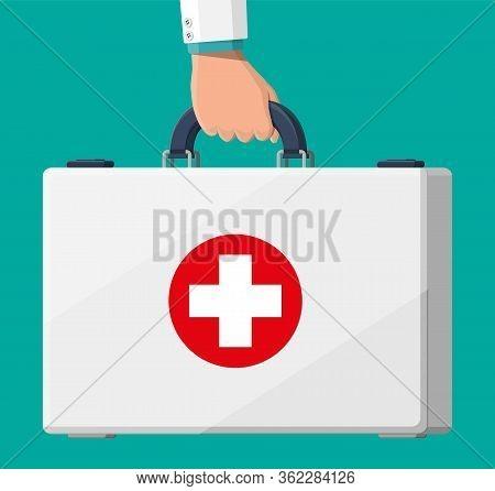 First Aid Kit In Hand. Plastic Bag For Medicine. Healthcare, Hospital And Medical Diagnostics. Urgen