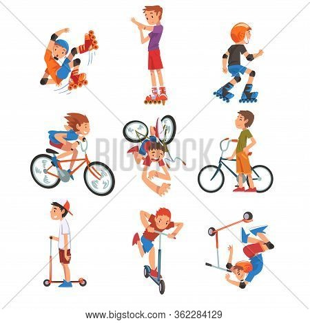 Boys And Girls Riding Kick Scooter Set, Bicycle, Rollerblades, Eco Transport For Children, Summer Ou