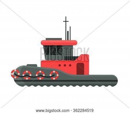 Steamboat Side View, Water Transport, Sea Or Ocean Transportation Vector Illustration