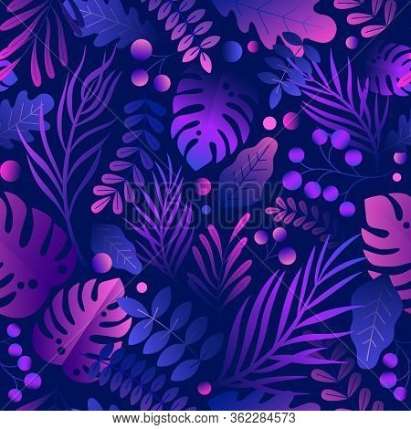 Trendy Gradient Curve Creative Lush Tropical Vegetation, Exotic Leaves And Jungle Foliage Seamless P