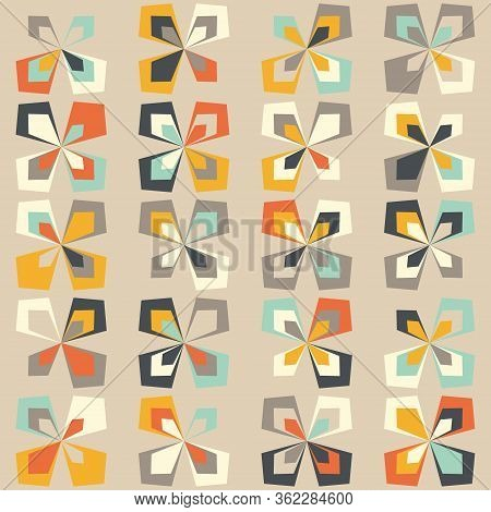 Midcentury Geometric Retro Background. Vintage Brown, Orange And Teal Colors. Seamless Floral Mod Pa