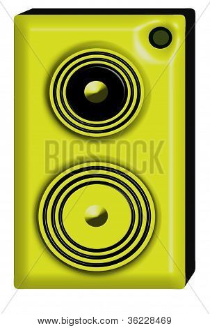 Yellow and black futuristic 3d studio monitor speaker. poster