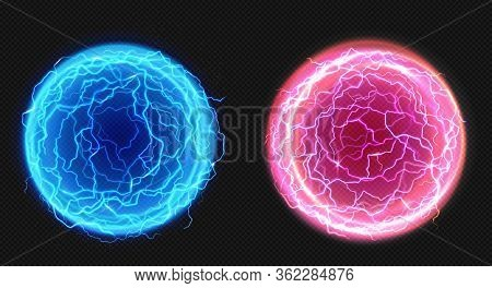 Electric Balls, Lightning Circle Strike, Plasma Spheres In Blue And Pink Colors. Powerful Electrical