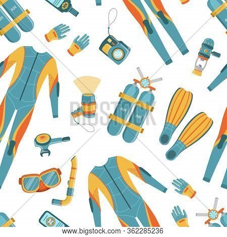Scuba Diving Seamless Pattern, Design Element Can Be Used Fabric, Wrapping Paper, Wallpapers Vector