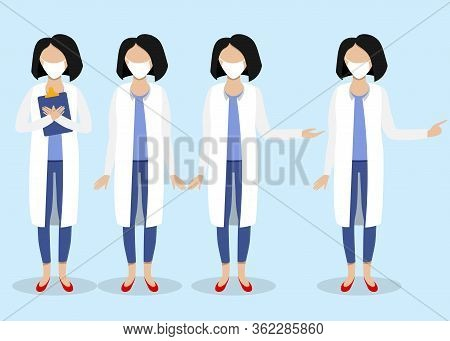 Thank You Doctor For Fighting The Coronavirus. Set Of Female Doctors, Flat Hospital Person, Medical