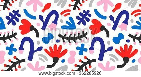 Bright Primitive Flowers, Contemporary Abstract Illustration, Tulips And Leaves In Bright Colors. Ve