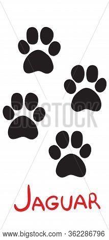 Set Of Black Jaguar Tracks, Icon, Isolated Object On White Background, Vector Illustration,