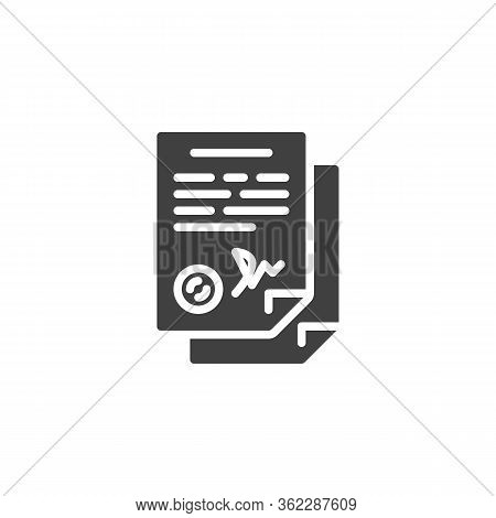 Agreement Contract Signature Vector Icon. Filled Flat Sign For Mobile Concept And Web Design. Legal