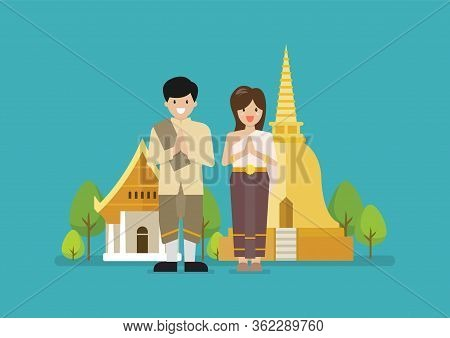 Thai Man And Woman Wearing Typical Thai Dress With Temple In Background. Vector Illustration