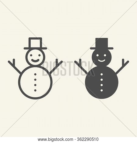 Snowman Line And Solid Icon. Happy Winter Snowman With Hat And Scarf Outline Style Pictogram On Whit