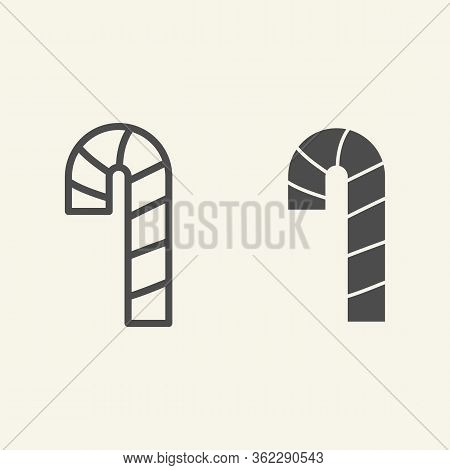 Candy Cane Line And Solid Icon. Christmas Peppermint Candy Cane With Stripes Outline Style Pictogram