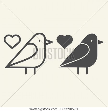 Sparrow Bird Line And Solid Icon. Small Finchlike Bird With Heart Symbol Outline Style Pictogram On