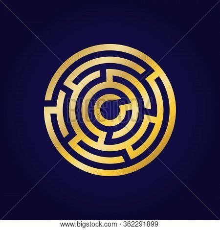 Labyrinth Golden Icon. Maze And Intricacy, Confuse Logo Symbol. Flat Design. Stock - Vector Illustra