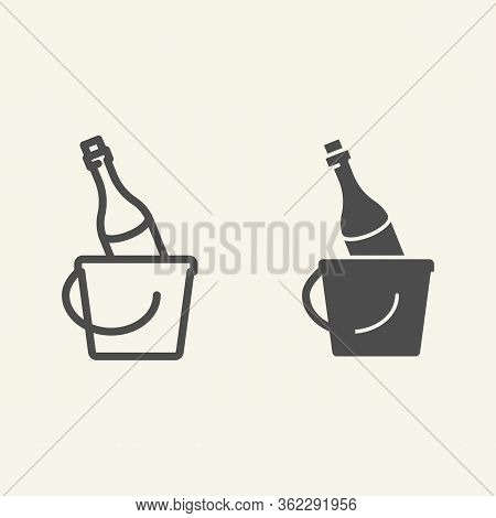 Champagne In A Bucket Line And Solid Icon. New Year Holiday Celebration Outline Style Pictogram On W
