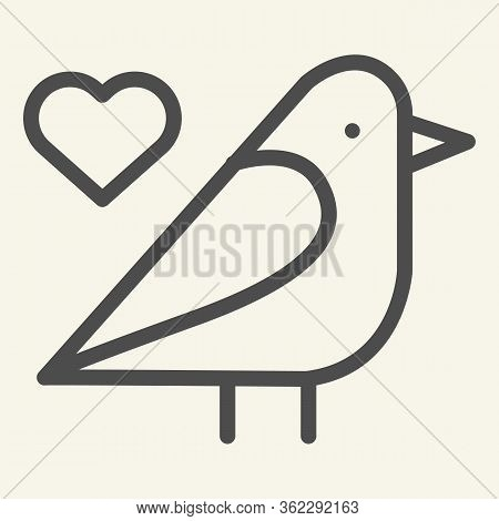 Sparrow Bird Line Icon. Small Finchlike Bird With Heart Symbol Outline Style Pictogram On White Back