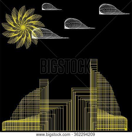 Abstract City, The City Of Which Is Not, The Image On A Black Background Is Yellow - The Sun, Clouds