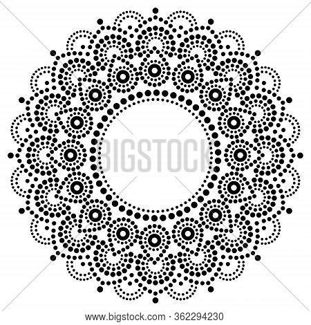 Bohemian Mandala Dot Painting Vector Design, Aboriginal Style, Australian Folk Art Boho Ornament In