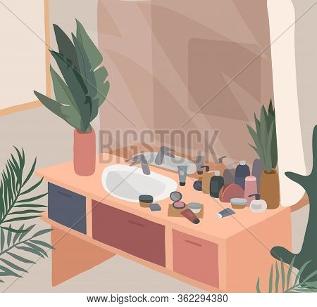 Scandinavian Or Nordic Style Interior. Hand Drawing Scandinavian, Style Cozy Bathroom With Homeplant
