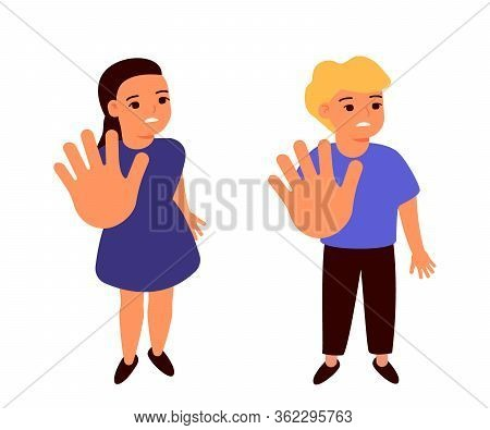 Frightened Sad Girl And Boy Holds Hands, Restricting Gesture, Stop Symbol. Violence, Abuse Against C