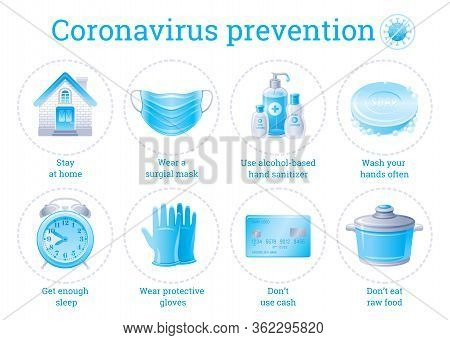 Coronavirus Prevention Infographic Poster With Covid Virus Protection Elements. Home Quarantine, Res