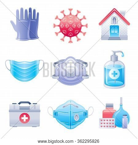 Corona Virus Protection Icon Set. Virus Covid Prevention Collection, Medical Elements. Hand Sanitize
