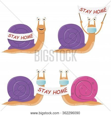 Seth Snail Stays At Home. Cute Cartoon Purple Snail With A Poster And A Medical Mask Against The Spr