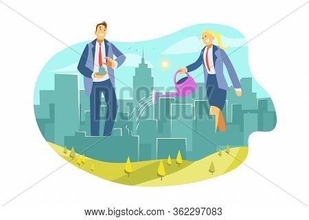Eco City, Real Estate, Business, Investment, Improvement Concept. Businesspeople, Businessman Woman
